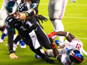 The Eagles scored 12 unanswered points to get the victory, as Wentz finished 5 of 6 for 121 yards with 2 touchdowns and a perfect rating of 158.3.